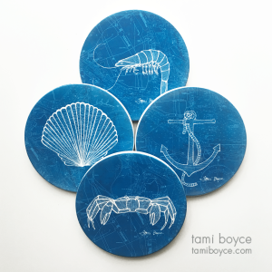 Coaster Set, Aquatic Series, Charleston Harbor