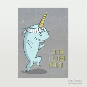 Narwhal doing Karate You Do You on white