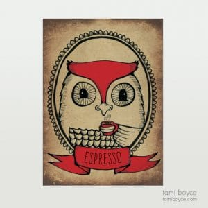 Owl with Espresso