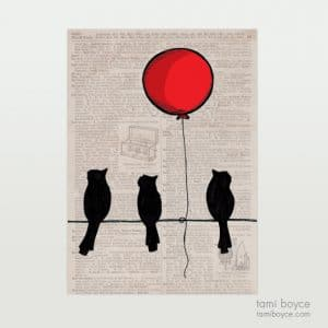 Birds Silhouettes with Balloon