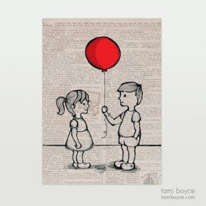 Little Boy Giving Girl Balloon