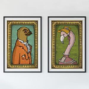 otter and flamingo