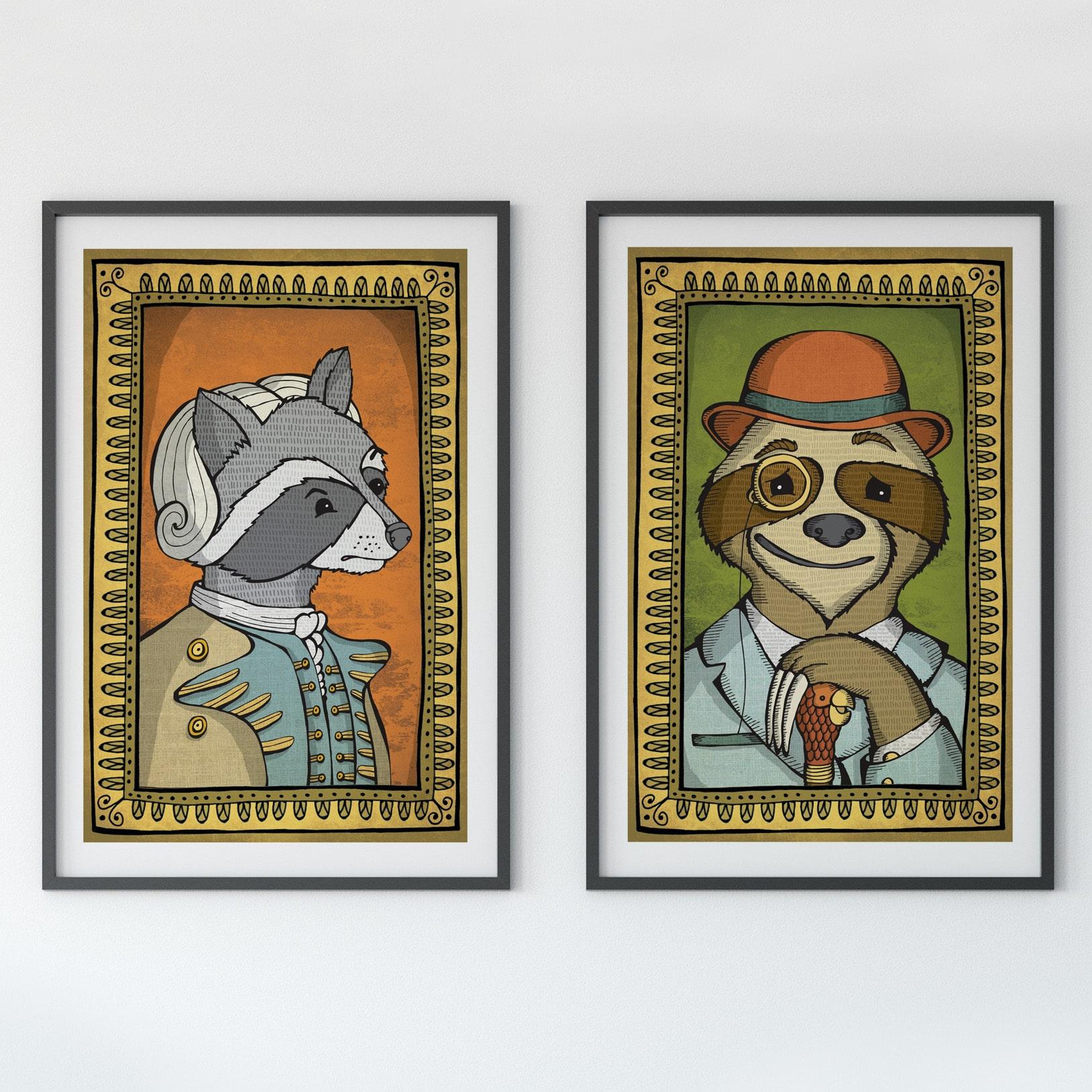 raccoon and sloth